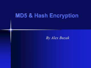 MD5  Hash Encryption