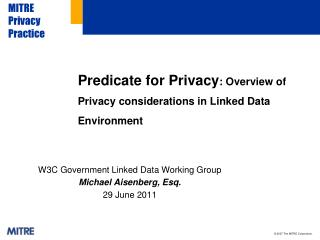 Predicate for  Privacy : Overview of Privacy considerations in Linked Data Environment