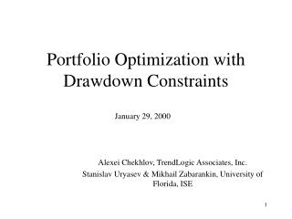 Portfolio Optimization with Drawdown Constraints