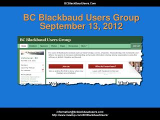 BC Blackbaud Users Group September 13, 2012