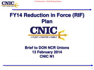 FY14 Reduction in Force (RIF) Plan
