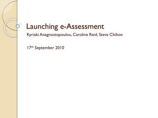 Launching e-Assessment