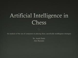 Artificial Intelligence in Chess