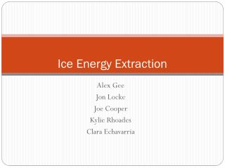 Ice Energy Extraction
