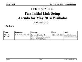 IEEE 802.11ai Fast Initial Link Setup  Agenda for  May 2014 Waikoloa