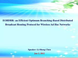 Speaker: Li-Sheng Chen