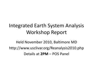 Integrated Earth System Analysis Workshop Report