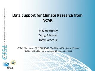 Data Support for Climate Research from NCAR