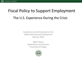 Fiscal Policy to Support Employment