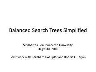 Balanced Search Trees Simplified
