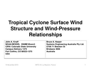 Tropical Cyclone Surface Wind Structure and Wind-Pressure Relationships
