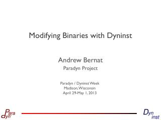 Modifying Binaries with Dyninst