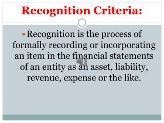 Recognition Criteria: