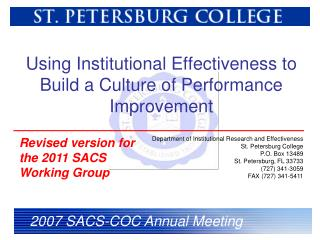 Using Institutional Effectiveness to Build a Culture of Performance Improvement
