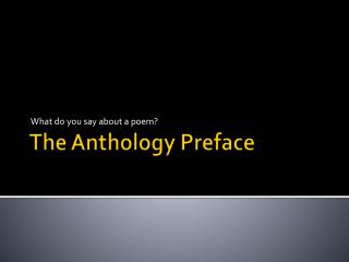 The Anthology Preface