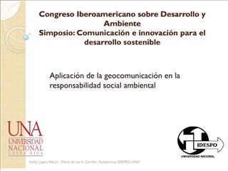 Congreso Iberoamericano sobre Desarrollo y Ambiente Simposio: Comunicaci n e innovaci n para el desarrollo sostenible