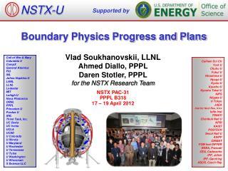 Vlad  Soukhanovskii, LLNL Ahmed Diallo, PPPL Daren Stotler, PPPL for  the NSTX Research Team