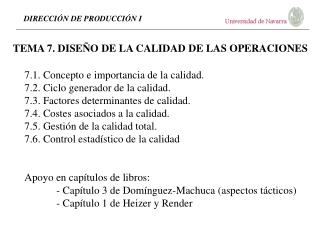 TEMA 7. DISE O DE LA CALIDAD DE LAS OPERACIONES