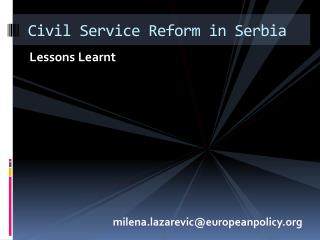 Civil Service Reform in Serbia