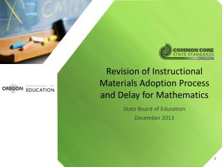 Revision of Instructional Materials Adoption Process and Delay for Mathematics
