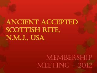 Ancient Accepted Scottish Rite,  N.M.J., USA