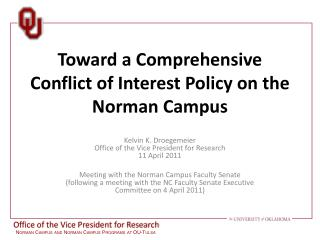 Toward a Comprehensive Conflict of Interest Policy on the Norman Campus