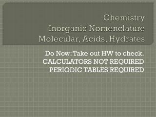 Chemistry Inorganic Nomenclature Molecular, Acids, Hydrates