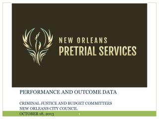 PERFORMANCE AND OUTCOME DATA CRIMINAL JUSTICE AND BUDGET COMMITTEES  NEW ORLEANS CITY COUNCIL