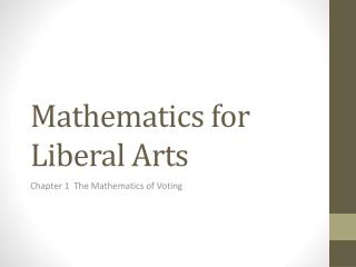 Mathematics for Liberal Arts