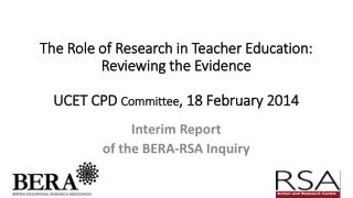 Interim Report  of the BERA-RSA Inquiry