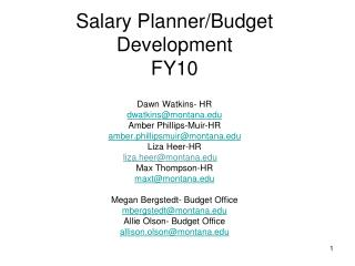 Salary Planner and Budget Development Dates