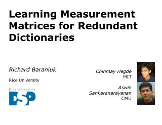 Learning Measurement Matrices for Redundant Dictionaries