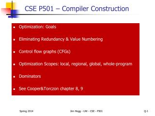 CSE P501 � Compiler Construction