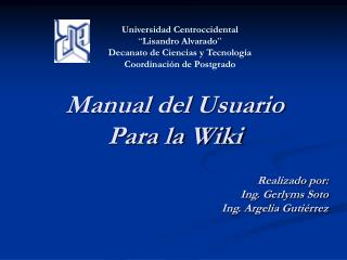 Manual del Usuario Para la Wiki