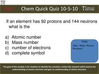 Chem Quick Quiz  10-5-10