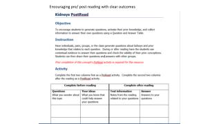 Encouraging pre/ post reading with clear outcomes