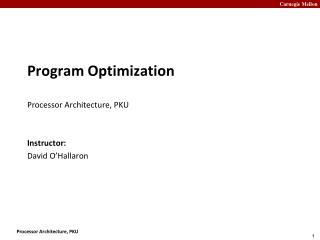 Program Optimization Processor Architecture, PKU