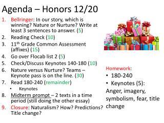Agenda – Honors  12/20