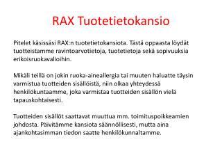 RAX Tuotetietokansio