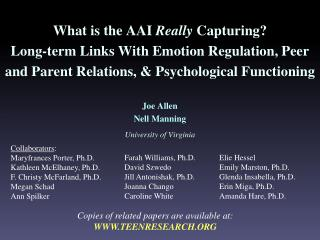 Copies of related papers are available at: WWW.TEENRESEARCH.ORG