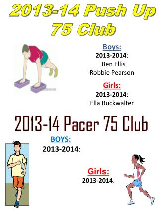 Boys: 2013-2014 :    Ben Ellis Robbie Pearson Girls: 2013-2014 : Ella  Buckwalter