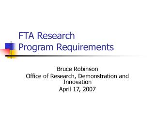 FTA Research  Program Requirements