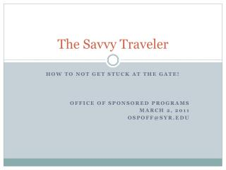 The Savvy Traveler