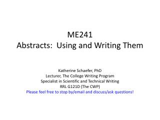 ME241 Abstracts:  Using and Writing  T hem