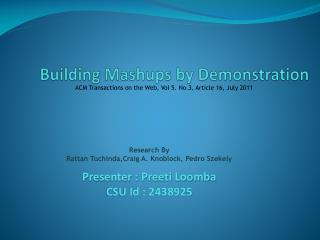 Building Mashups by Demonstration