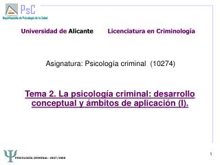 Universidad de Alicante        Licenciatura en Criminolog a