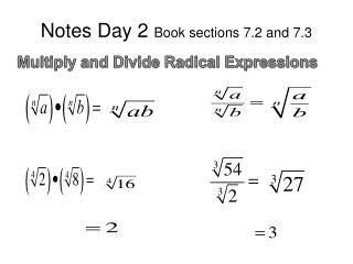 Notes Day 2  Book sections 7.2 and 7.3