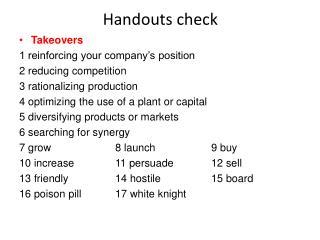 Handouts check