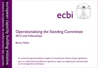 Operationalising the Standing Committee 2012 ecbi Fellowships Benito M �ller
