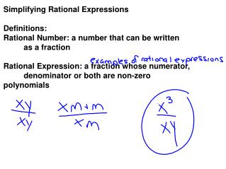 Simplifying Rational Expressions Definitions: Rational Number: a number that can be written